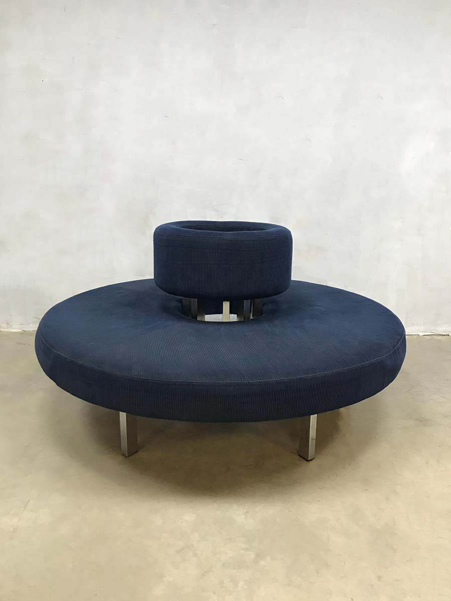 Ronde Sofa Infinity Circle Sofa Ronde Bank Retro Blue Corderoy Fabric