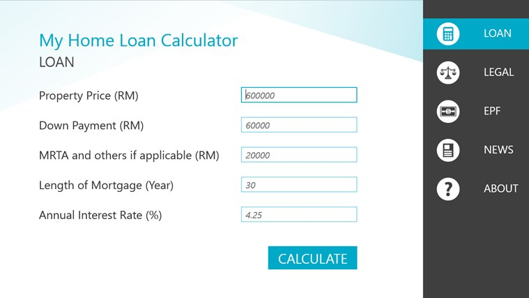 Malaysia Home Loan Calculator for Windows 8 and 81
