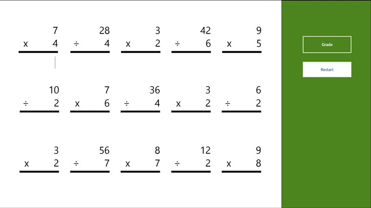 Multiplication and Division Worksheet for Windows 8 and 81