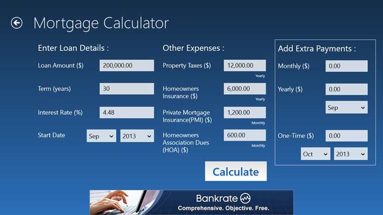 Bankrate Mortgage for Windows 8 and 81 - bank rate mortgage calculator