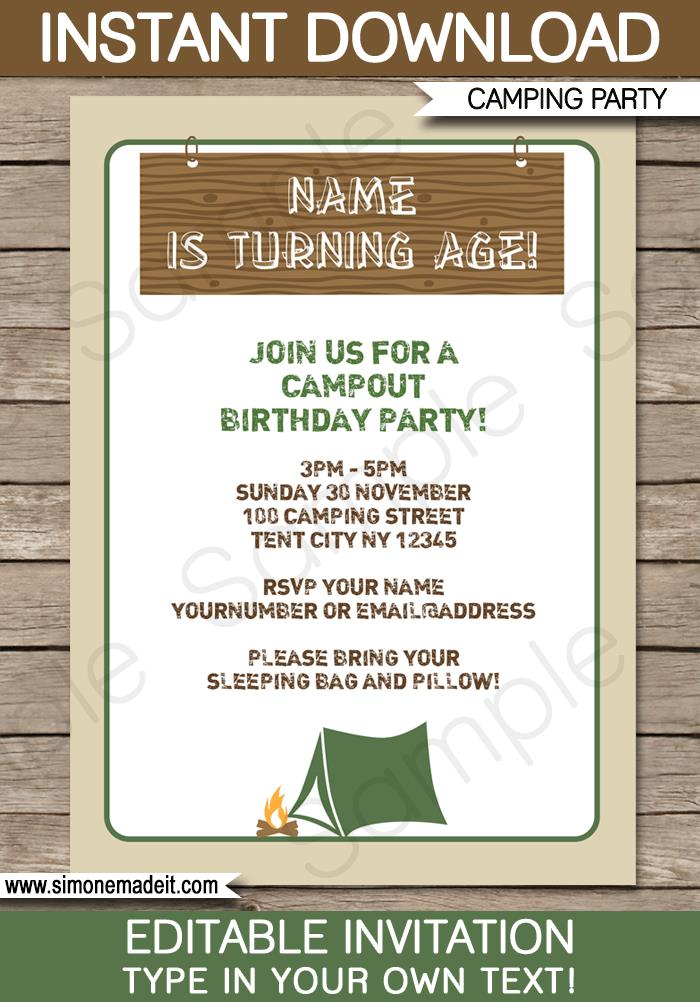 photo relating to Free Printable Camping Birthday Party Invitations titled Tenting Invitations For Birthdays Birthday Invitation Camp Out