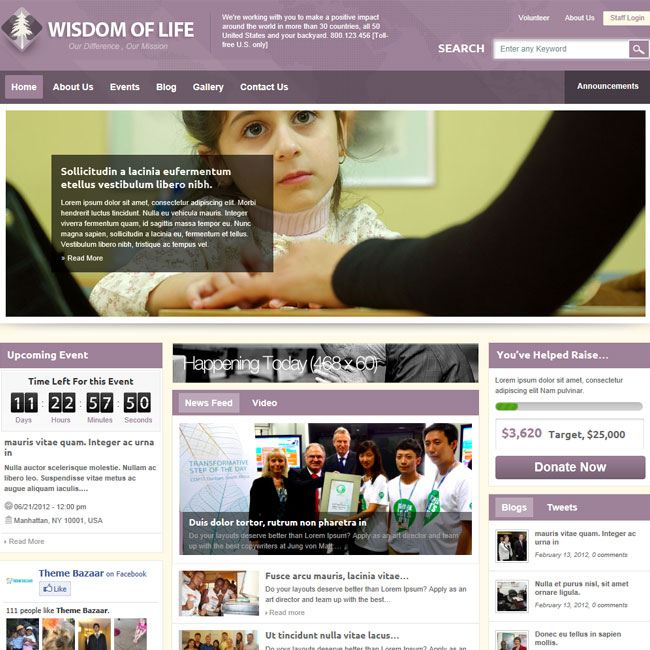 Wisdom Of Life NGO, Charity WordPress Theme Best WordPress Themes