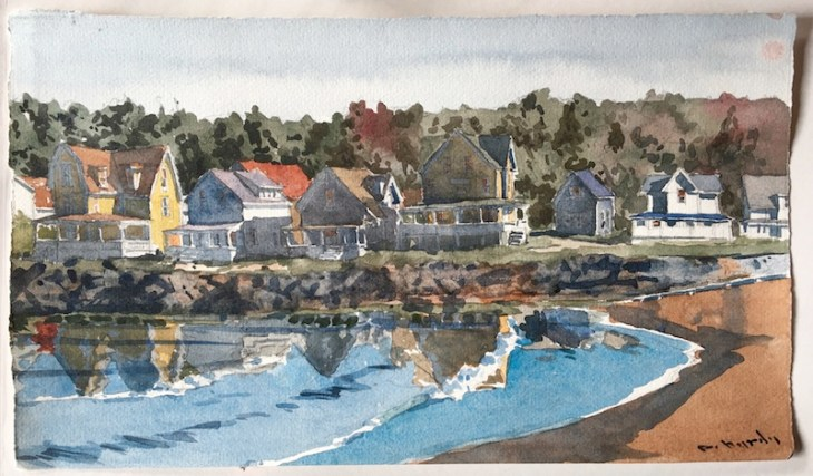 "DeWitt Hardy, Summer by the Little Shore, watercolor, 15"" x 8.625"""