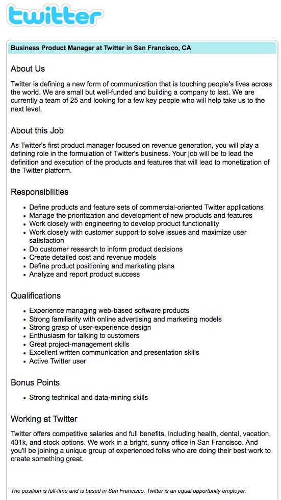 Twitter Hiring Product Manager To Bring In The Revenue TechCrunch