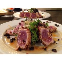 Magnificent Sesame Crusted Tuna Steak On Arugula Recipe Dishmaps Sesame Crusted Ahi Tuna Steak Recipe Dishmaps Sesame Crusted Tuna Carbs Sesame Crusted Tuna Grilled