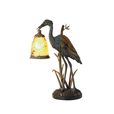 Verdigris Patina Brass Crane Decorative Lamp