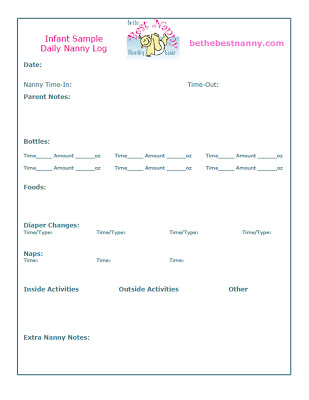 nanny daily log template - infant daily schedule
