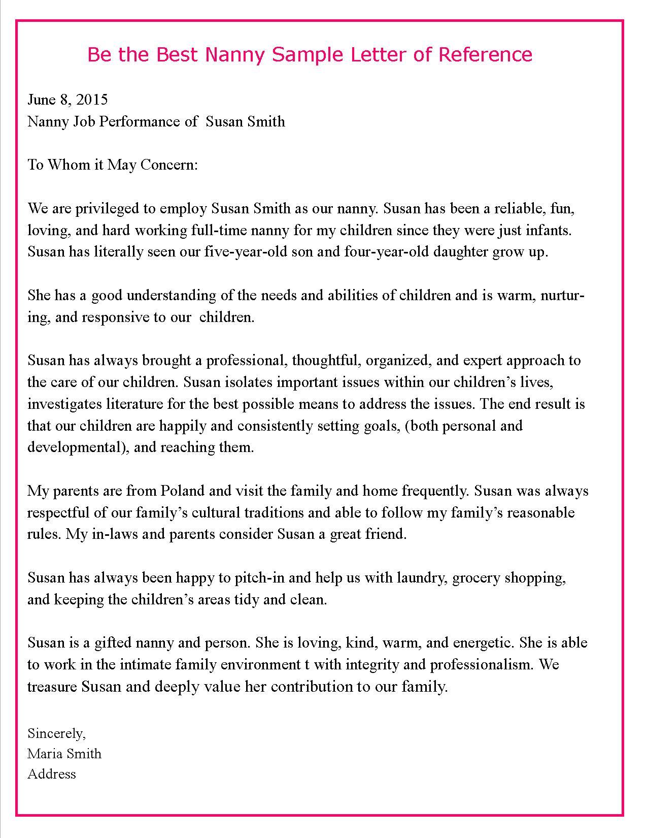 nanny recommendation letter