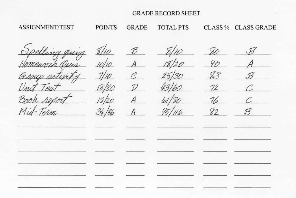grade record sheet for students