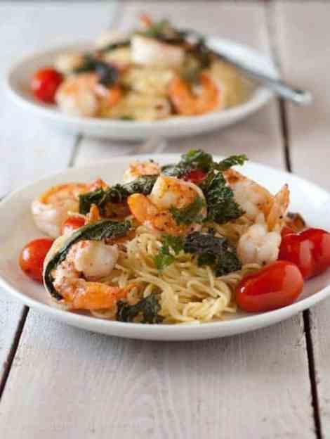 Shrimp & Bacon Pasta with Crispy Kale | Betsylife.com