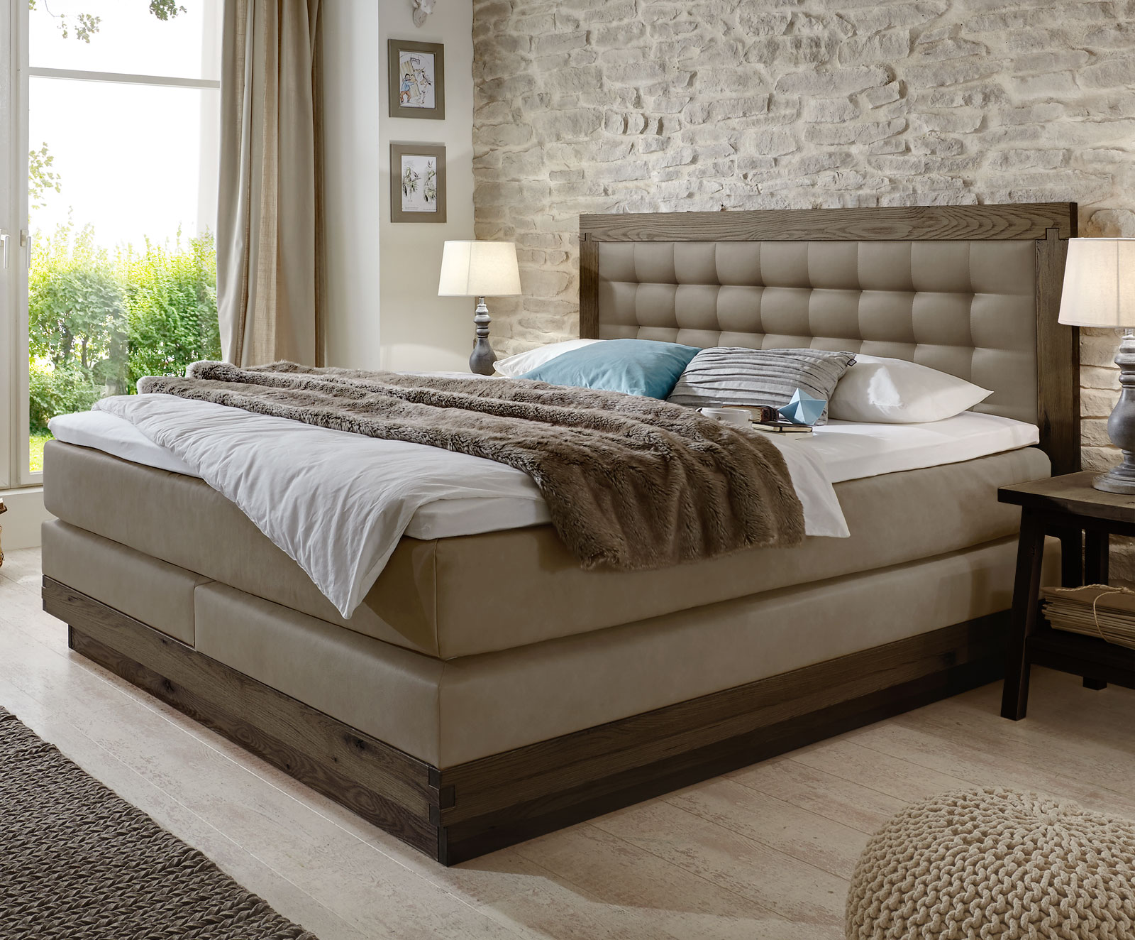Boxspring Betten Boxspringbett Aus Massiver Wildeiche And Kunstleder Galicia
