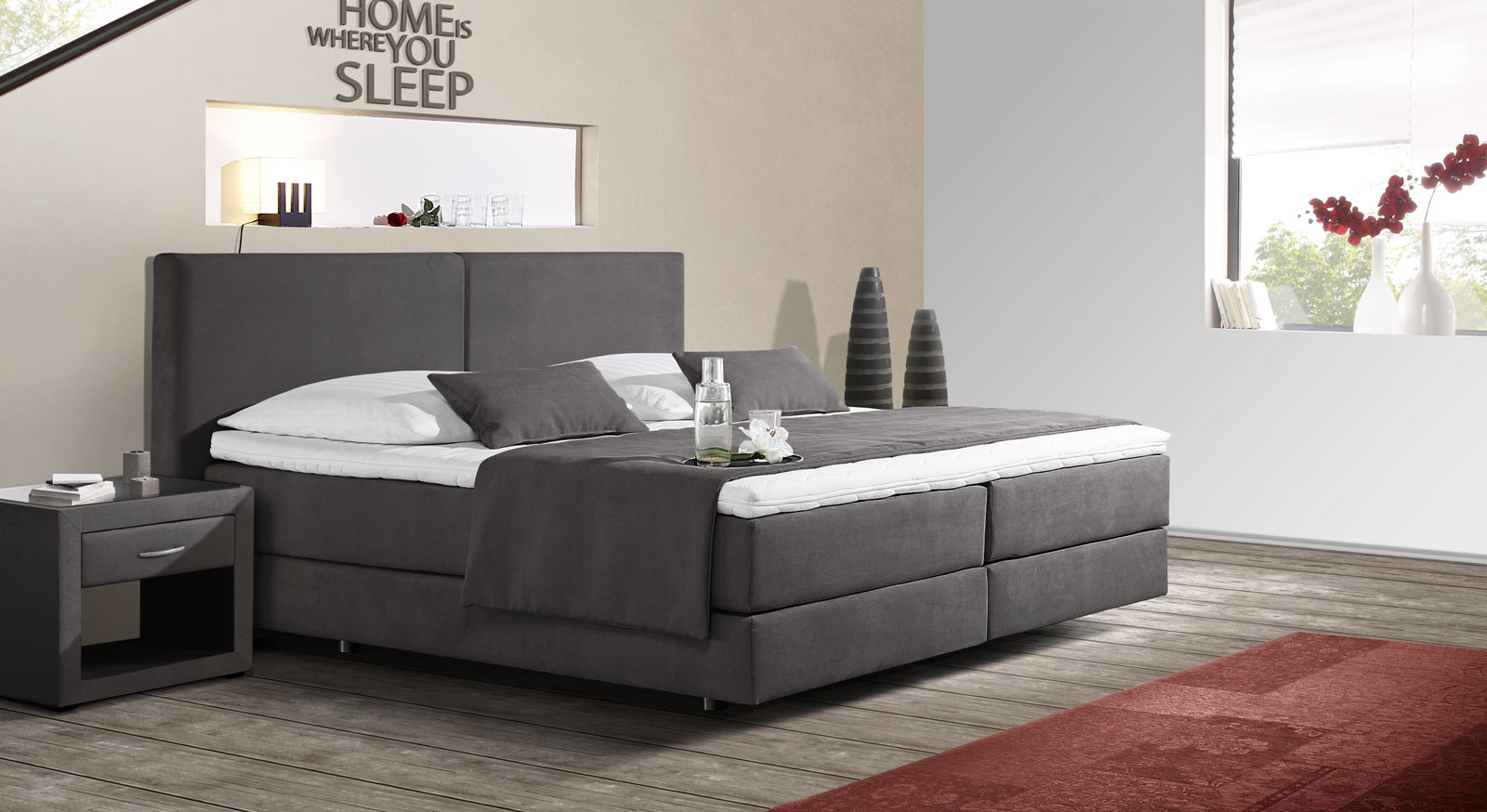 Boxspringbett Anthrazit Boxspringbett Mit Schwebeoptik Z B In Anthrazit Carrara