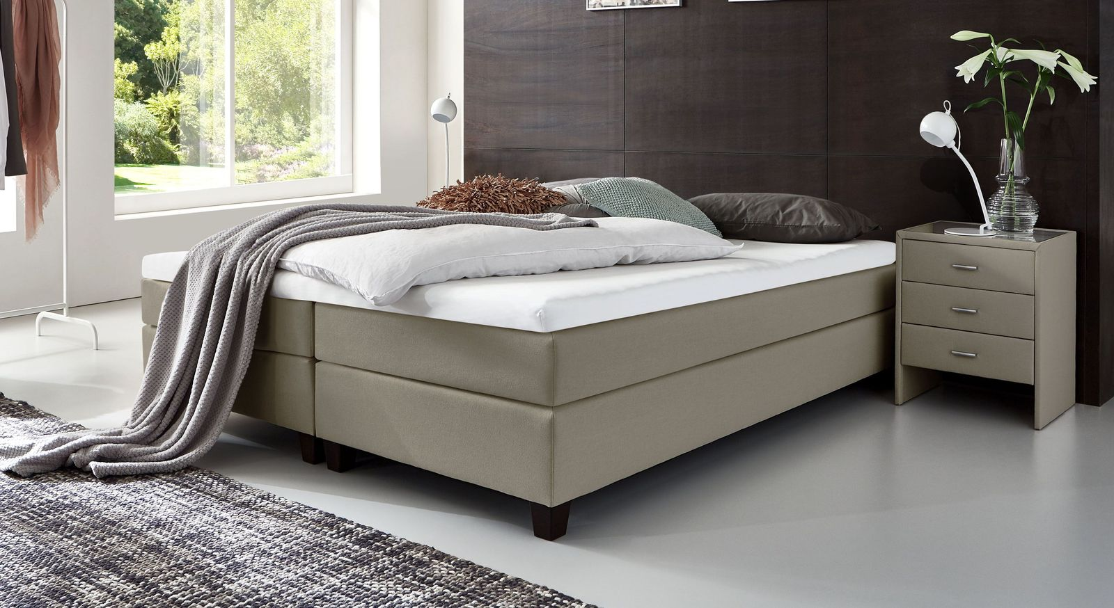 Boxspringbett Ohne Kopfteil 160x200 Holzfusse Luciano