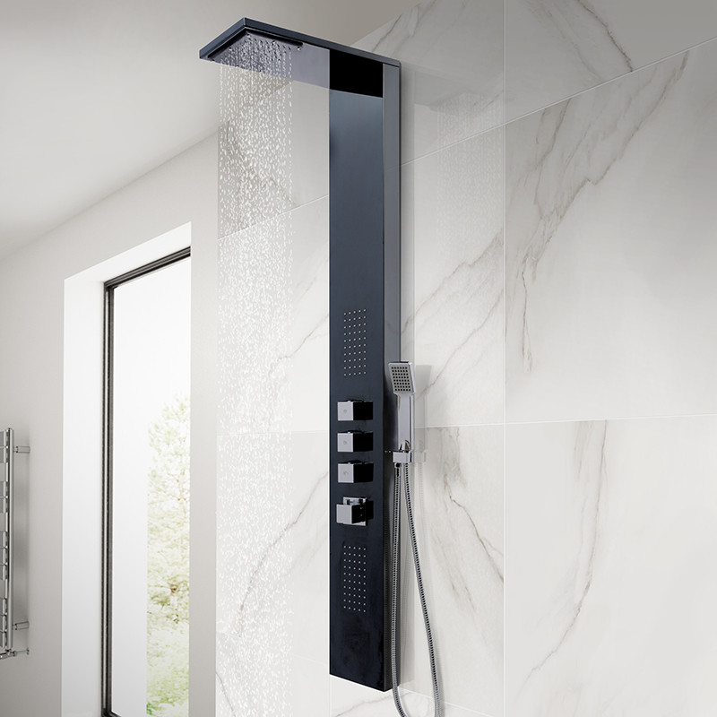 Bathroom Showrooms Aspire Black Thermostatic Shower Tower Panel