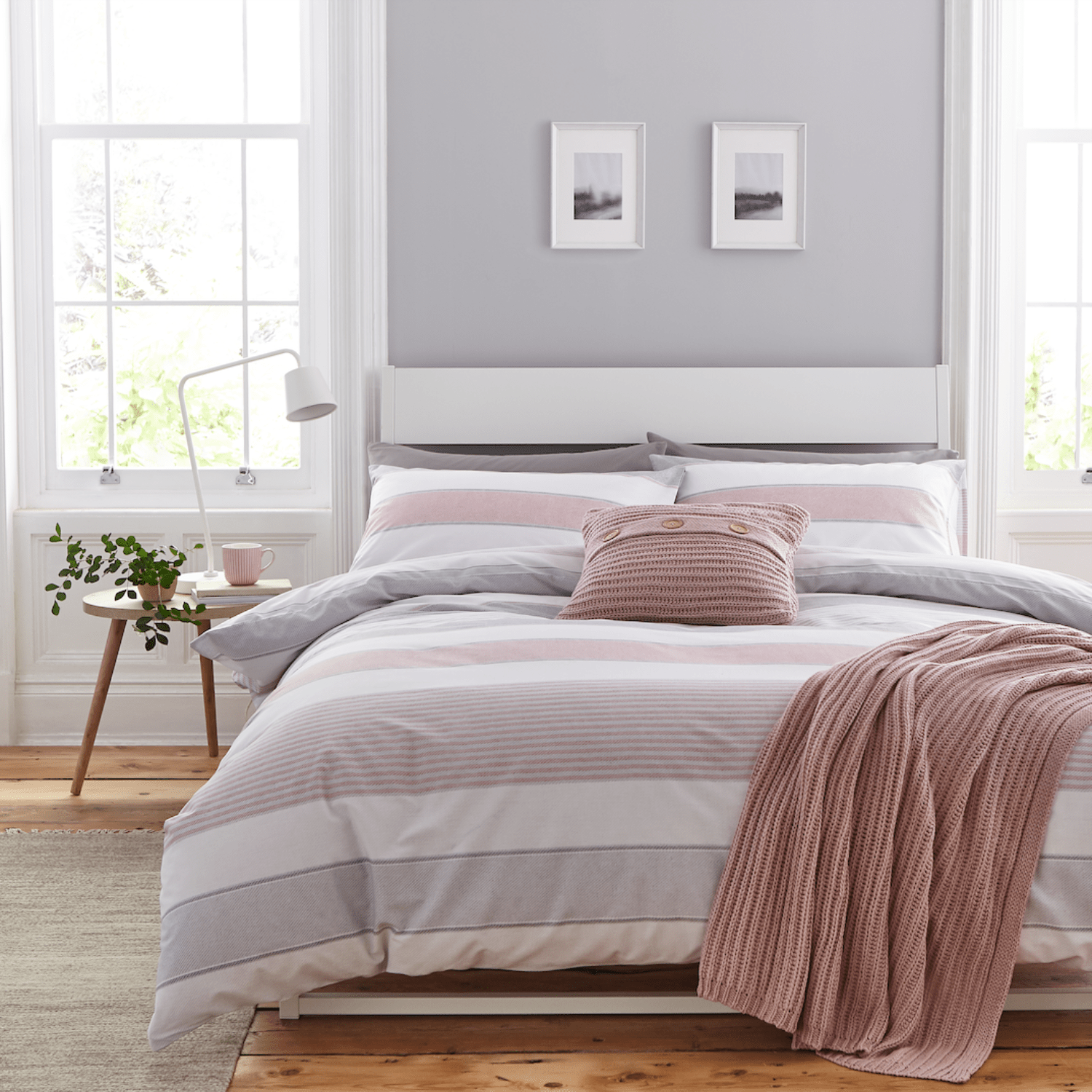 Catherine Lansfield Christmas Bedding Catherine Lansfield Newquay Pink Grey Stripe Duvet Set