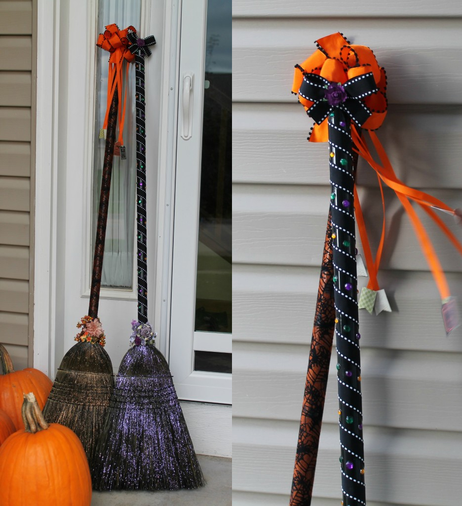 Stupendous Fall Porch Decor Spooky Witch Brooms Halloween Better Decorating Bible Blog Front Door Decorating Ideas Toddlers Halloween Door Decorations Frankenstein Instant Fall Curb Appeal Halloween D curbed Halloween Door Decorations