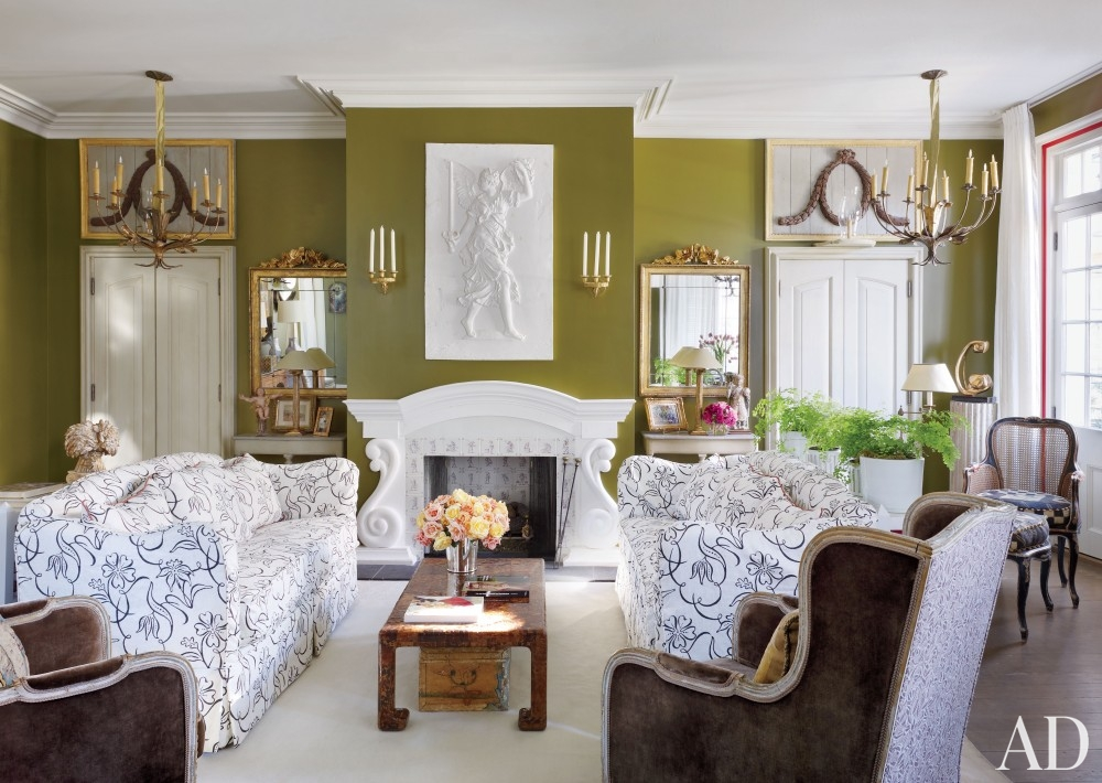 Olive Green Wall Living Room - Rize Studios