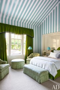 blue white green striped walls wallpaper country style