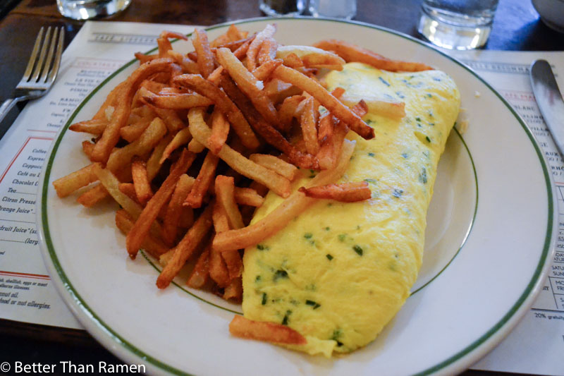 pastis new york restaurant review Omelette aux Fine Herbes with French Fries