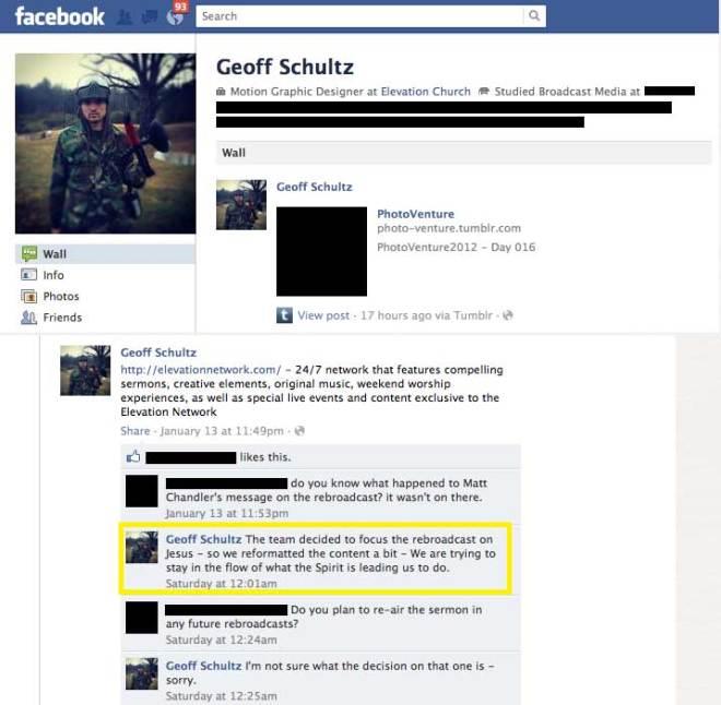 Screenshot of Schultz' Facebook wall