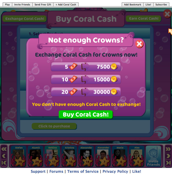 An up-sell screen appears when players have insufficient crowns or coral cash to make a purchase, which subsidized mechanisms the company had in place toward increasing monetization.