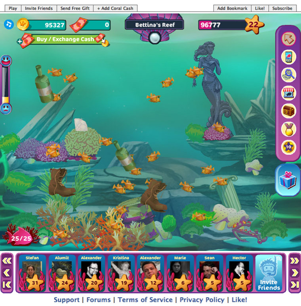 Other quests relate to reef pollution. Players must clean them regularly to avoid various disturbances, such as polluted water, invasions, and alga.