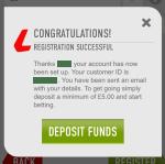 Successful registration on the Ladbrokes app