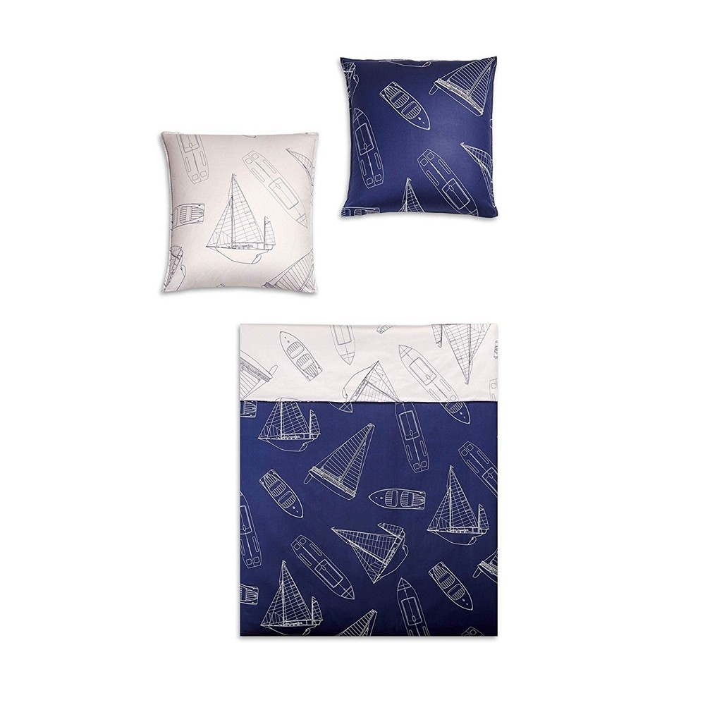 Weisse Kissenhüllen Covered Bettwäsche Sailing Navy Blue 155 X 220 Cm | Bett