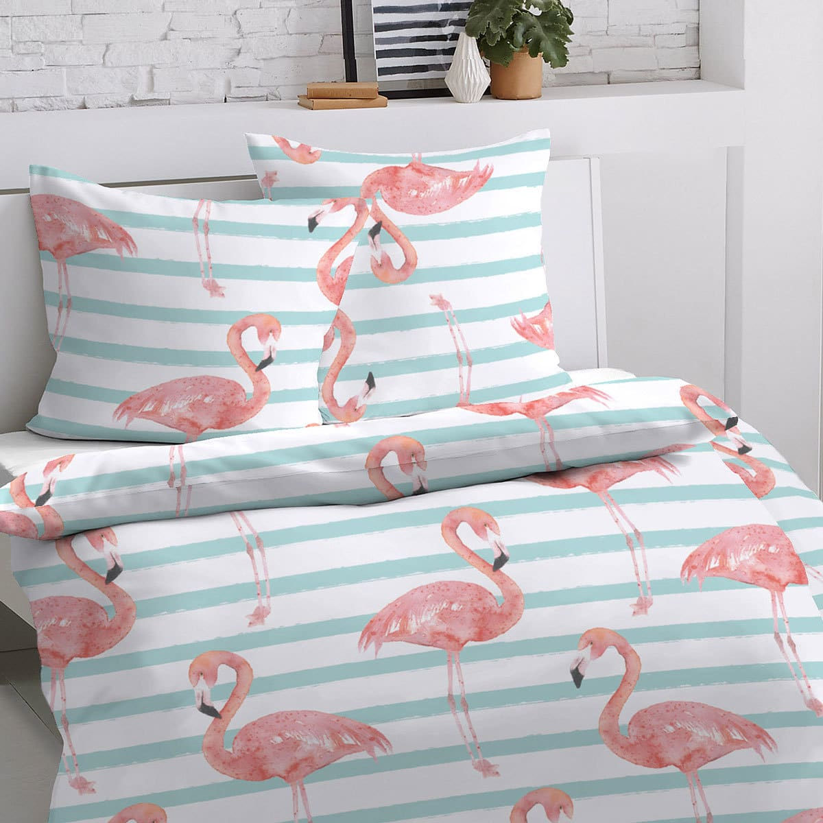 Flamingo Bettwäsche Dormisette Mako Satin Bettwäsche Flamingo