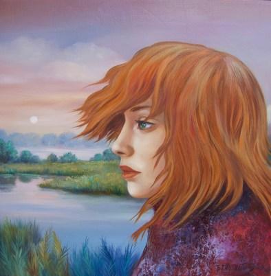 La rêveuse, huile sur bois 40 cm x 40 cm