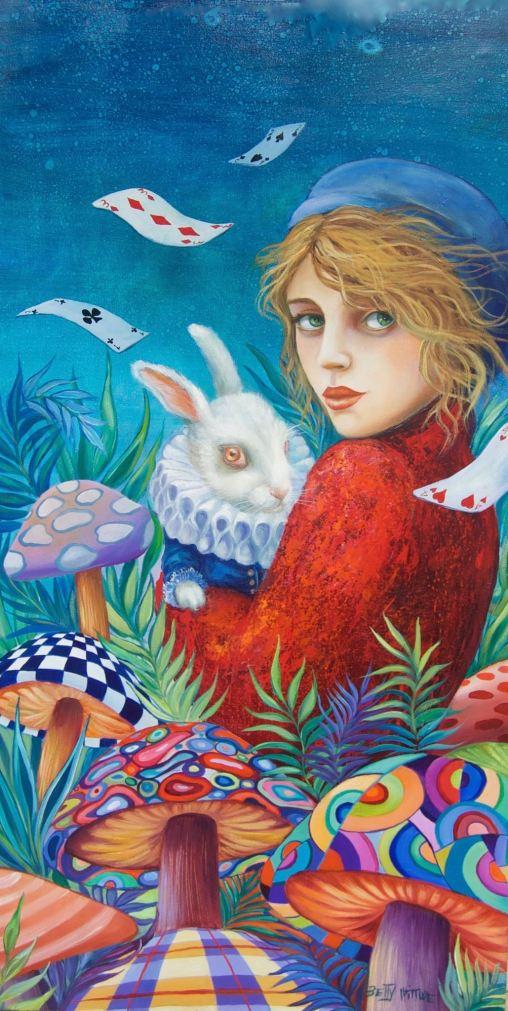 dans les bras d'Alice, huile sur toile 1m20 x60 cm