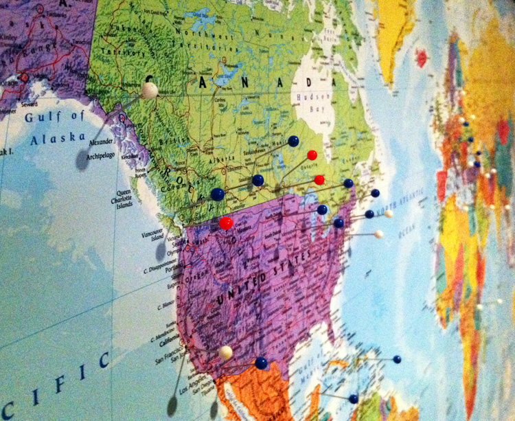 Map it out! - Between Brush Strokes - pins on a map