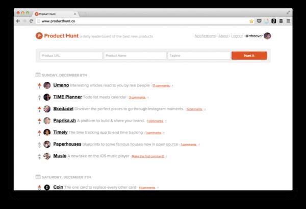 Product Hunt, 初期網站