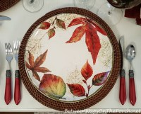 Autumn-Fall Table Setting with Leaf Dinnerware, White ...