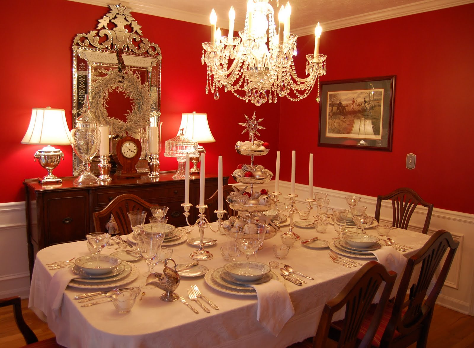 Dining Table Set Up Ideas Christmas Tablescape Table Setting With Silver Tiered