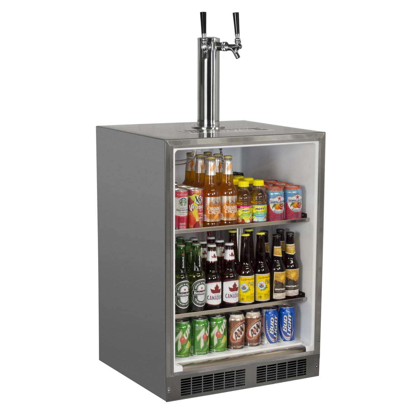 Countertop Beer Cooler And Tap Marvel Mo24bns1rs X2d Dual Faucet Kegerator All