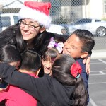 Senior Mahsa Safvati ends a game of tag with a group hug.