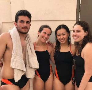 Seniors Josh Fouladian, Veronica Karlin, Hannah Knecht and Sara Okum pose together, celebrating their years on swim.