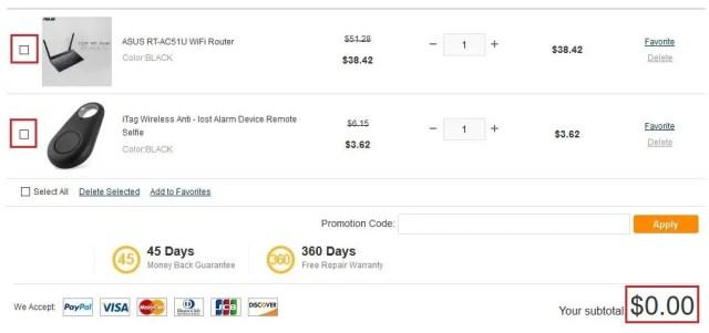 合計が0ドルになっている場合は、買うものを選択します。
