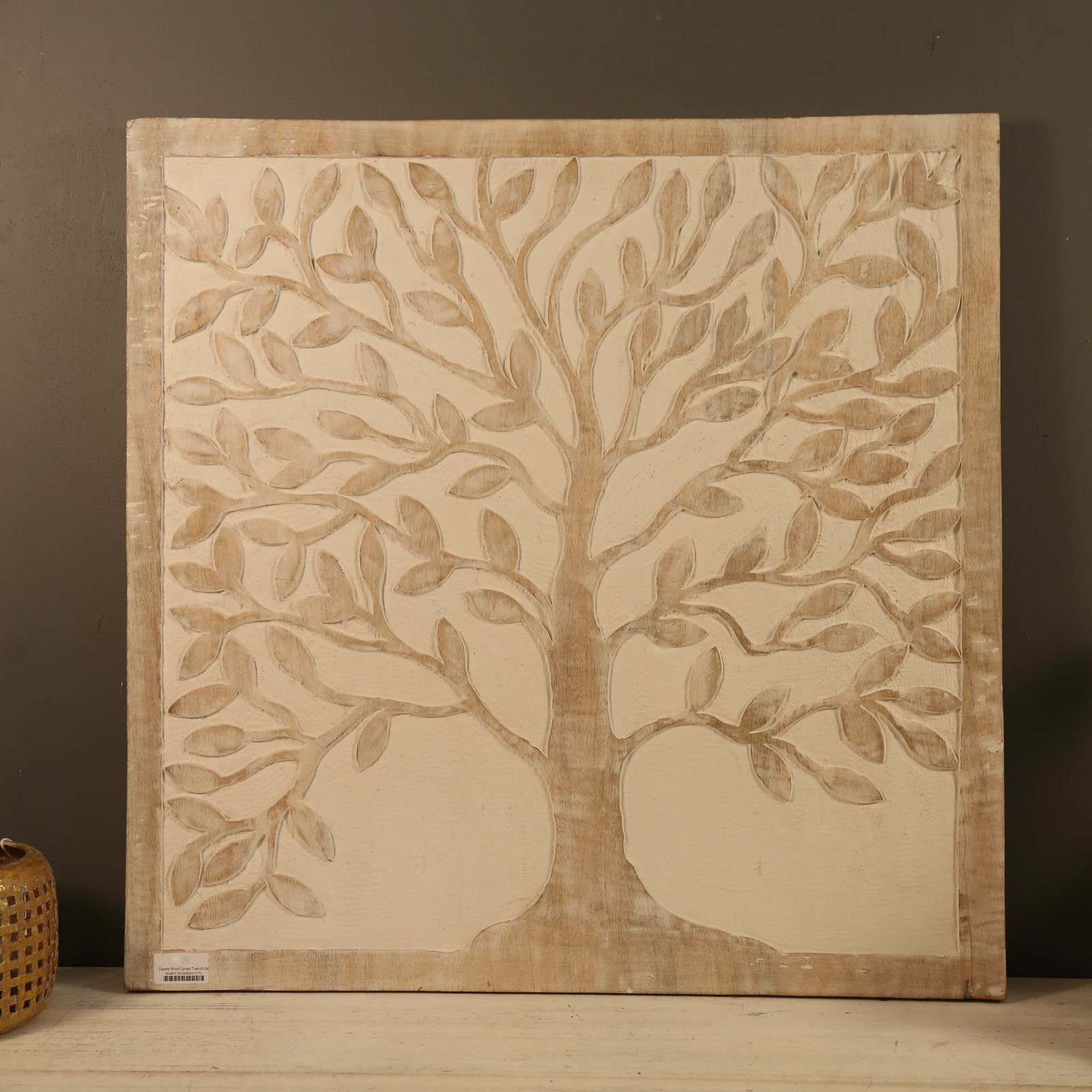 Wood Tree Wall Decor Square Wood Carved Tree Of Life Wall Art 60x60cm Unbranded