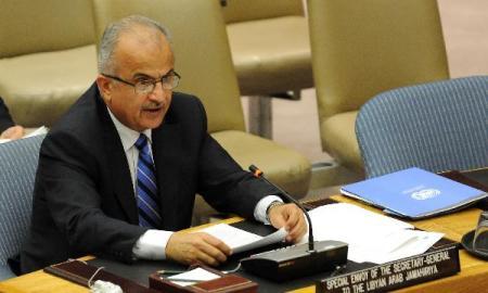 Abdelilah Al-Khatib, UN special envoy for Libya at a Security Council meeting at the UN headquarters on April 4 (Courtesy: Xinhua0