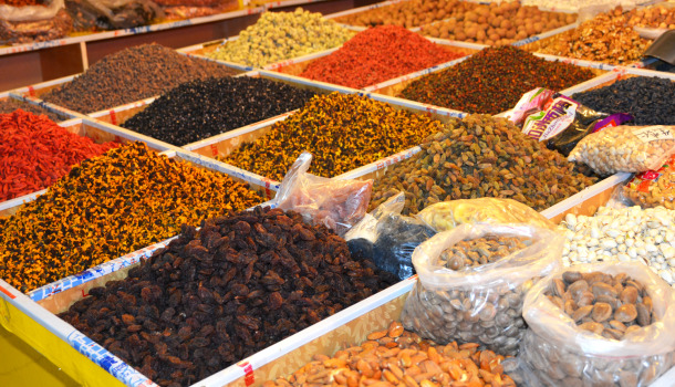 Among the nuts, raisins, Goji berries and other herbal concoctions, the brownish one on the back left, is a specialty to the Tibetan plateau called droma or djüma.
