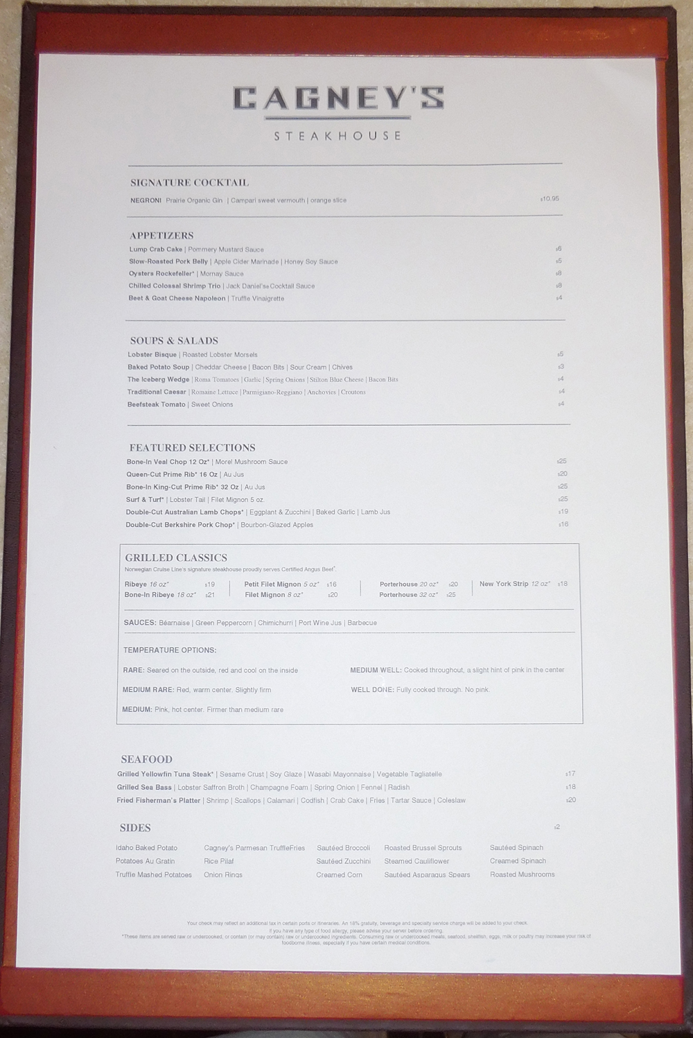Norwegian Jewel La Cucina Menu Norwegian Breakaway Menus