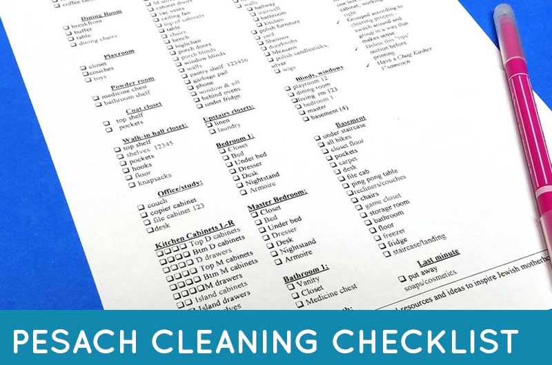 Pesach Cleaning Checklist - for Passover and Beyond! (FREE Printable)