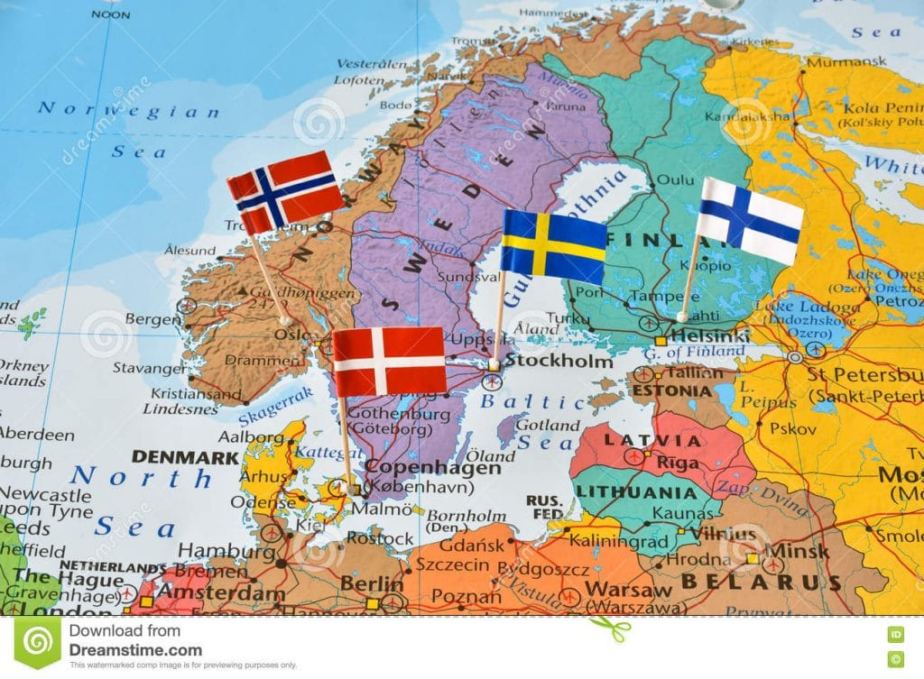 nordic-countries-flag-pins-map-paper-denmark-finland-norway-sweden - pins on a map