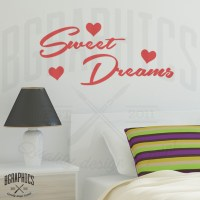 Sweet Dreams Wall Art Sticker quote with Hearts, Bedroom ...