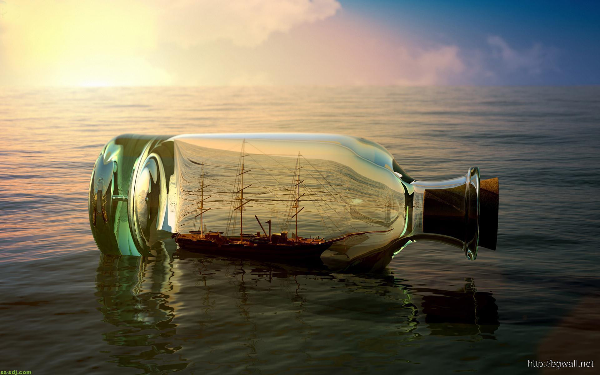 Rain Drop Wallpaper Hd 3d Art Bottle At Sea Wallpaper Download Background