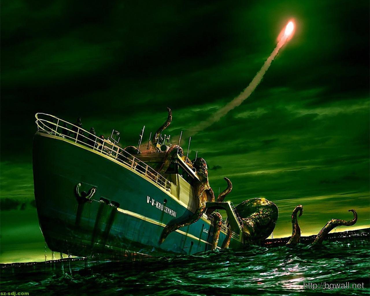 S4 Car Wallpaper Giant Kraken Attacking Ship Wallpaper Background Hd