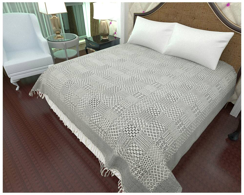 Double Bed 100 100 Cotton Handloom White Double Bed Sheet Bhagwati Textile