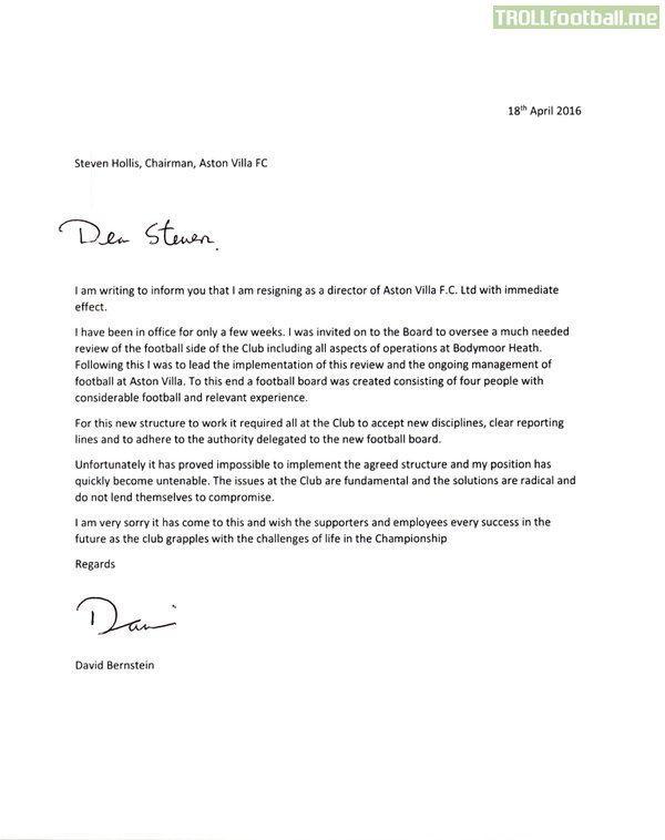 AVFC - The leaked resignation letters of board members Bernstein